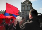 Filming a Pro-Communist rally, Independence Square, Kiev, Ukraine (BBC Eorpa)