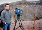 Filming at the summit of Mount Vesuvius, Italy