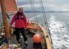 Filming with presenter Nicholas Crane as he sails the Sound of Mull - 'Coast' (BBC)