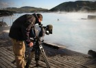 Filming at the Blue Lagoon near Reykjavik in Iceland for the Discovery Channel