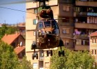 Army helicopter patrolling the border in Mitrovica, Kosovo separating Serbs and Albanians ('Eorpa' BBC Scotland)