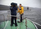Filming nuclear sub HMS Splendid returning to Faslane Naval Base (BBC News)