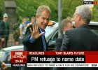 Tony Blair arrives in Edinburgh (BBC News 24)