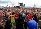 Filming vox pops with fans at the main stage at T in the Park (BBC)