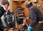 Filming with swordsmith Rob Miller for 'Daily Planet' (Discovery Channel)
