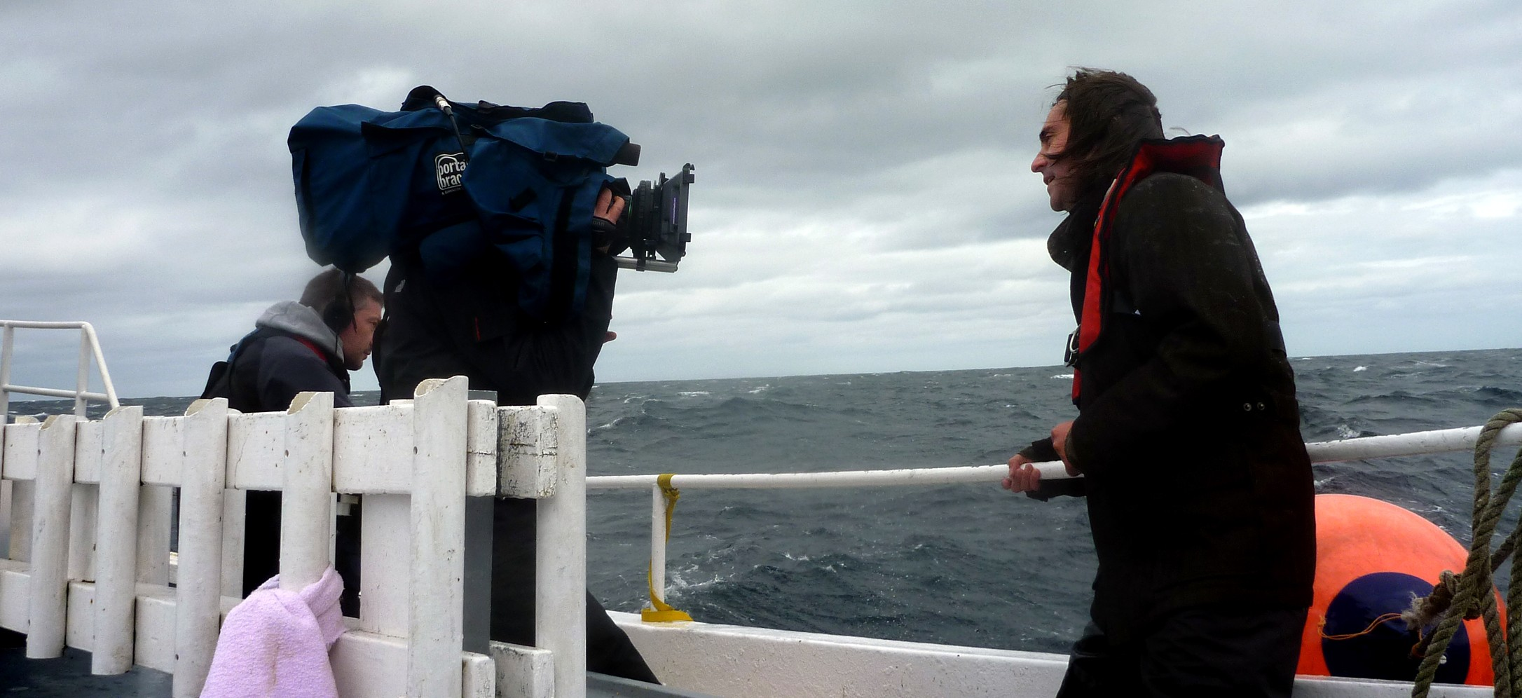 Filming with Neil Oliver for 'Coast' (BBC)